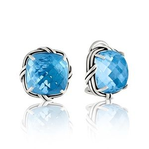 Blue Topaz Lever Stud Earrings
